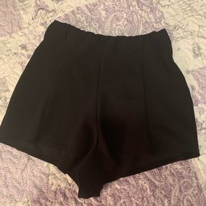 pretty little thing black high waisted shorts!